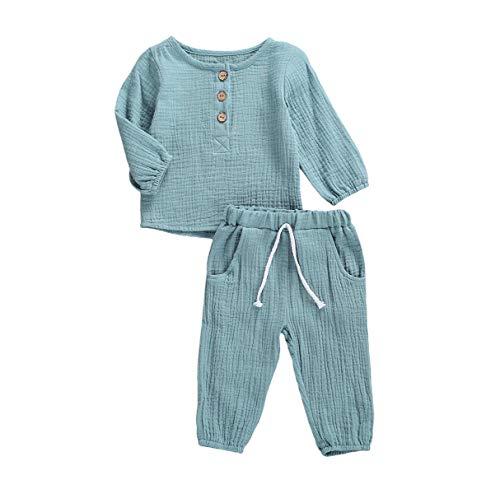 Kleinkind Baby Mädchen Jungen Shorts Set Sommer Outfit Baumwolle Leinen Ärmellos Button Down T-Shirt Top Kurze Hose Einfarbige Kleidung (C-Blue, 6-12 Months)