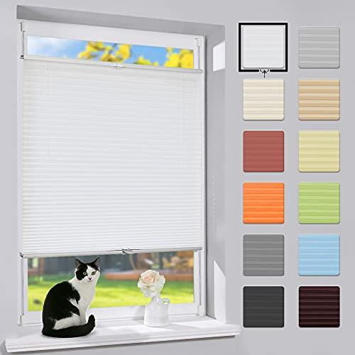bobodeco Plissee Klemmfix Faltrollo ohne Bohren Jalousie (Weiß,70x200cm) Easyfix Rollo, Sonnenschutz und Sichtschutz Lichtdurchlässig Jalousie für Fenster & Tür