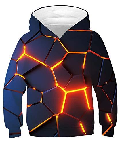 ALISISTER Jungen Mädchen Hoodie 3D Neuheit Optische Täuschung Grafik Kapuzenpullover Sweatshirt Unisex Kinder Langarm Hoody Kapuzensweatshirt mit Taschen (M=8-10 Jahre)