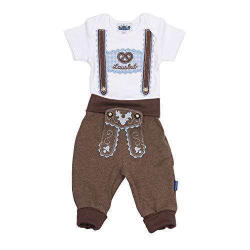 Trachten Set für Lausbuben in Größe 74, bestehend aus Baby Body mit kurzem Arm und Applikation Hosenträger und Baby Jogginghose Lederhosen Look, braun - EIN tolles Geschenk…