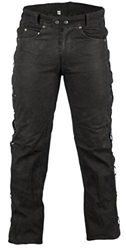 Biker Lederhose in Nubuk Leder schwarz, Lederhose seitlich geschnürt, Rocker Lederhose, Bikerjeans, Lederjeans (44)