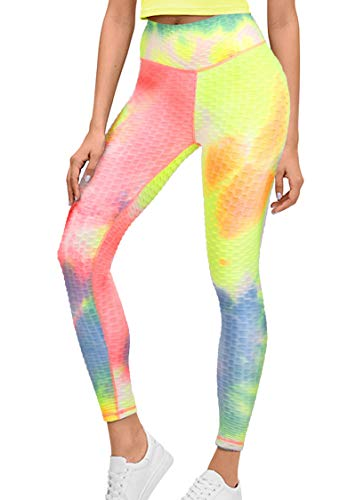 GRAT.UNIC Sport Leggings Damen,Yoga Sporthose,Fitnesshose mit Taschen,Yogahosen,Damen Leggings,Schwarz Stretch Workout Fitness Jogginghose (Regenbogen, XXL)
