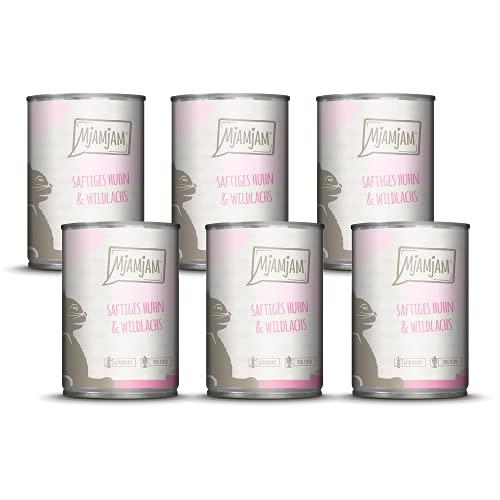 MjAMjAM - Premium Nassfutter für Katzen - saftiges huhn und wildlachs, 6er Pack (6 x 400 g), getreidefrei mit extra viel Fleisch