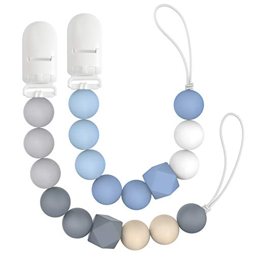 LcyKohn Silicone Chew Beads Soothie Pacifier Clip Leash Holder for Baby Boys or Girls Teeth Relief Accessories, 2 Pack Sil.