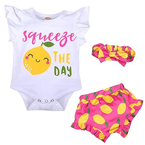 Texbee Neugeborene Kleinkind Baby Shorts Set Baumwolle Strampler Rüschen Tops Blumen Gedruckt Shorts Sommer Outfits Süße for Mädchen 0-18M (Pink Limo, 0-3M)
