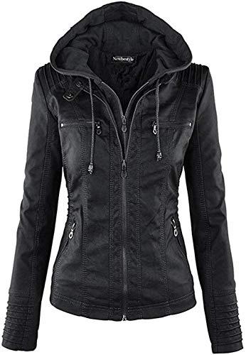 Newbestyle Jacke Damen Lederjacke Frauen mit Zip V Ausschnitt Kunstleder Bikerjacke Jacket Casual Übergangsjacke (Normale EU-Größe), Schwarz, M/40