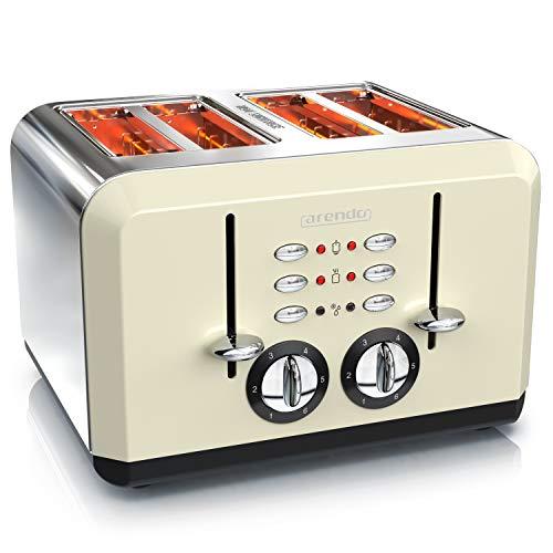 Arendo - Automatik Toaster 4 Scheiben - Edelstahlgehäuse - bis zu vier Sandwich und Toast-Scheiben - Bräunungsgrad 1-6 - Aufwärm- und Auftaufunktion - Krümelschublade - 1630 Watt - GS-zertifiziert