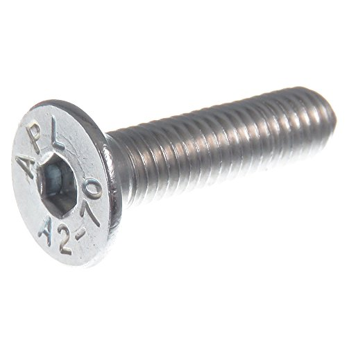 SECCARO Senkschraube M5 x 20 mm, Edelstahl V2A VA A2, DIN 7991 / ISO 10642, Innensechskant, 20 Stück