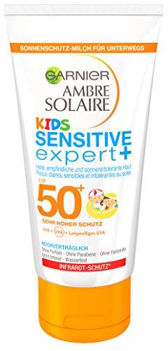 Garnier Sonnencreme Kids, Sonnenschutz-Milch für Kinder extra wasserfest, LSF 50+, Ambre Solaire, 1er Pack, 50 ml