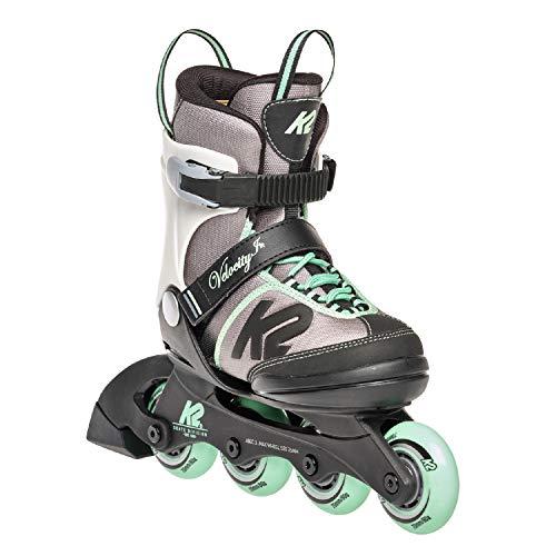 K2 Inline Skates VELOCITY JR GIRLS Für Mädchen Mit K2 Softboot, Grey - Green, 30E0291
