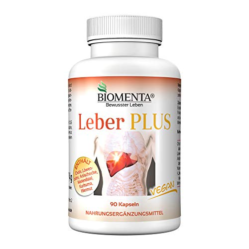 BIOMENTA Leber Plus - mit Cholin Bitartrat, Löwenzahn, Artischocken, Mariendistel, Kurkuma, Wermut – 90 Leber Kapseln – vegan