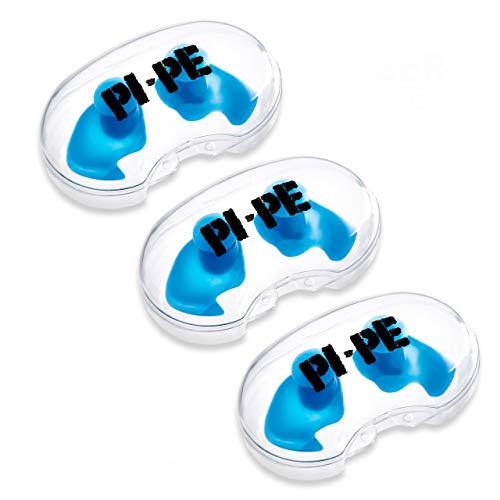 PI-PE - 3 Paar - Ohrstöpsel aus Silikon - Komfortable Ohrenstöpsel zum Schwimmen, Tauchen und Schnorcheln - Ohrschutz gegen Wasser mit Aufbewahrungsbox (Erwachsene, blau)