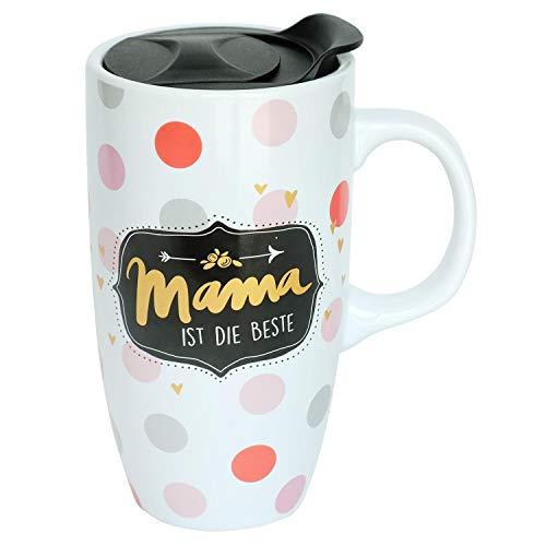 Die Geschenkewelt 45574 Becher to go Mama ist die Beste, mit Deckel, Steingut Tasse mit Henkel, 50 cl