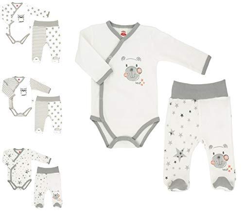 Makoma Baby Erstausstattung Neugeborenen Set 2tlg. Baby Body & Strampelhose mit Fuß Unisex (62, Teddy)