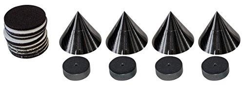 Dynavox Sub-Watt-Absorber 4er Set, höhenverstellbare Entkoppler für HiFi-Geräte und Lautsprecher mit Unterlegscheiben, schwarz