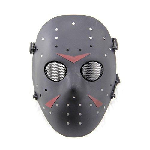 WorldShopping4U Stilvolle Jason Horror Terror Hockey Maske Furchtsame Halloween Maske Partei Maske Schwarz