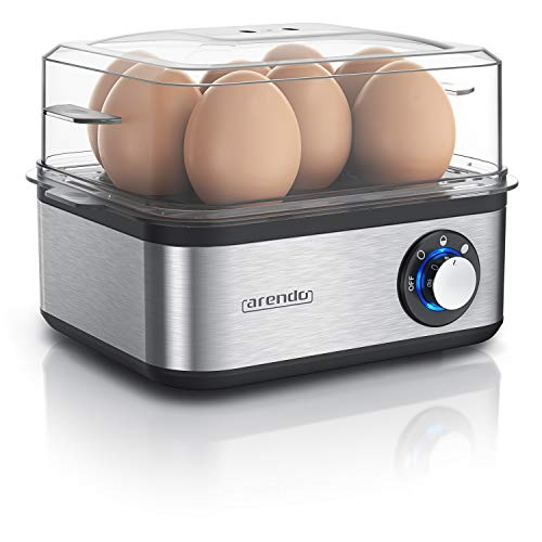 Arendo - Eierkocher Edelstahl für 1 bis 8 Eier - Egg Cooker - 500 W – Kontroll Leuchte – Drehregler für drei Härtegrade - spülmaschinengeeignet - Edelstahl gebürstet