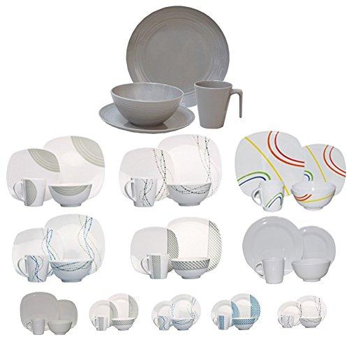 Hekers NEU Campinggeschirr Melamin Geschirr 16-teilig für 4 Personen (Design/Farbe wählbar) Picknickgeschirr (Seramika/Latte Rund)