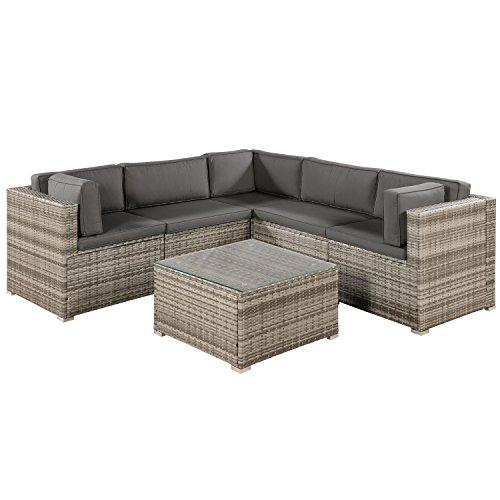 ArtLife Polyrattan Lounge Sitzgruppe Nassau beige-grau | Gartenlounge mit Sofa & Tisch | Kissen-Bezüge in grau | Gartenmöbel Set für Garten & Terrasse
