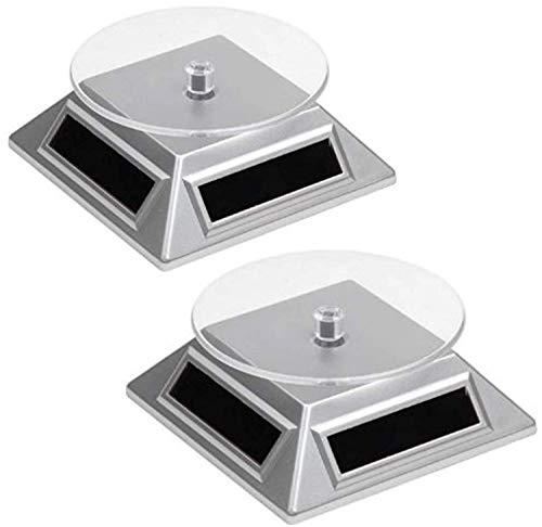 2 Solar Drehteller Drehscheibe für Vitrine   Leistungsstark   Präsentation Teller - Drehbühne für Uhren, Schmuck, Handy