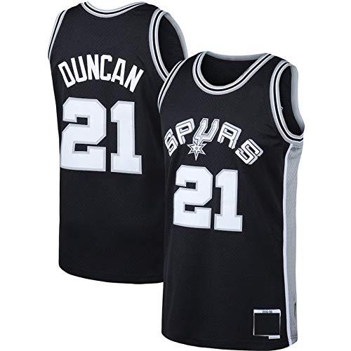 MZAW Herren #21 Tim Duncan Basketball Trikot Geeignet für Outdoor-Sportarten San Antonio Spurs Verblasst das Basketball Trikot Nicht das Klassiker-Trikot - Schwarz