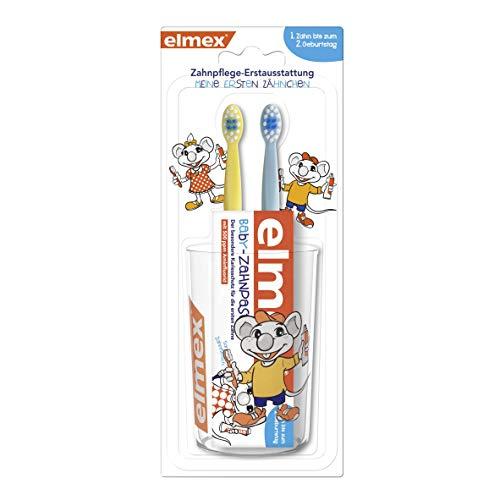 elmex Baby Zahnpflege-Erstausstattung Set - Set bestehend aus Zahnpasta, Zahnbürsten und Becher. Für Kinder von 0-2 Jahren