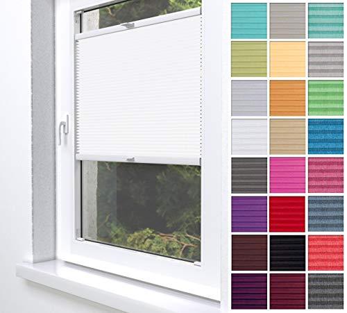 Home-Vision® Premium Plissee Faltrollo ohne Bohren zum Kleben Innenrahmen Blickdicht Sonnenschutz Jalousie für Fenster & Tür (Weiß, B25 x H120cm)