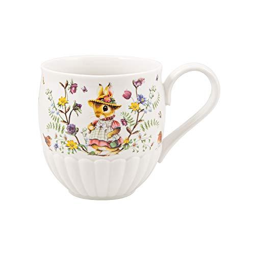 Villeroy & Boch Spring Fantasy Kaffeebecher Familie, 440 ml, Becher mit süßem Hasenmotiv, Premium Porzellan, Bunt