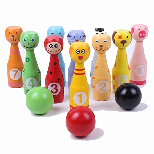 Subobo Bowlingkugel Holzspielzeug Oxford Holzkegel für Kinder - Holzkegel-Set Tiergesichter 12-teilig Groß - Holzspielzeug 2 Jahre altes Bowlingspielzeug für Kinder Lernspielzeug für Kinder