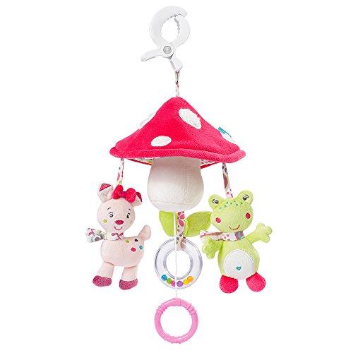 Fehn 076530 Mini-Musik-Mobile Pilz – Spieluhr-Mobile für Unterwegs zum Befestigen an Kinderwagen oder Babyschale – Melodie