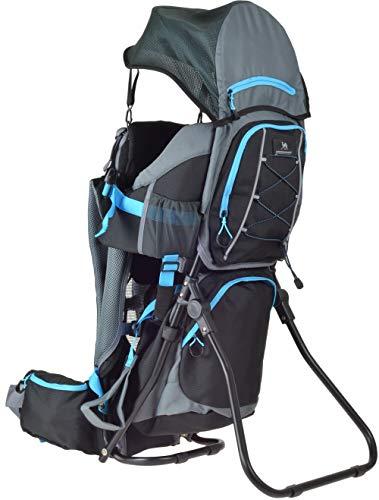 Ultrapower Kindertrage   Kinderkraxe für den Tagesausflug   Frauen & Männer Tragerucksack   Kraxe zum Wandern mit Babys   Babytrage Rucksack   Rückentrage   Baby-Carrier Wombat grau blau   Neverland