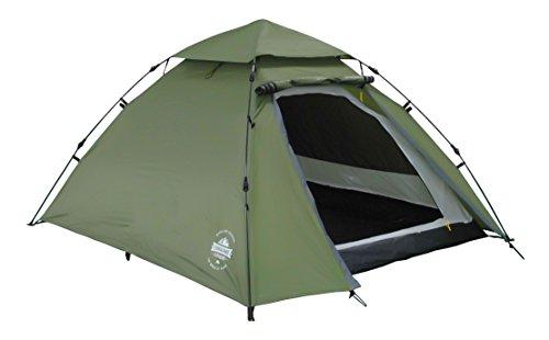 Lumaland Outdoor Pop Up Kuppelzelt Wurfzelt 3 Personen Zelt Camping Festival etc. 215 x 195 x 120 cm robust Grün