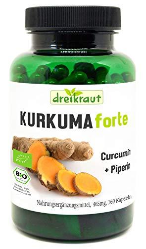 Kurkuma Forte Bio von dreikraut - Kurkuma + Curcumin 95% + Piperin, 160 vegane Kapseln, je 465mg, Deutsche Herstellung, ausgewogene Rezeptur, frei von Zusätzen, rückstandsgeprüft
