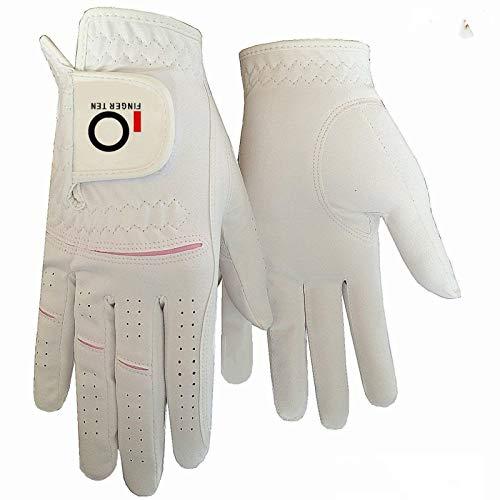 FINGER TEN Golfhandschuh Damen Paar, Linke Rechte Hand 2 Stück Mikrofaser Allwetter Regentag Nass Heiß Golf Handschuh Links Rechts Griff Haltbarkeit Weicher Komfort Größe XS S M L XL (M, Left Hand)
