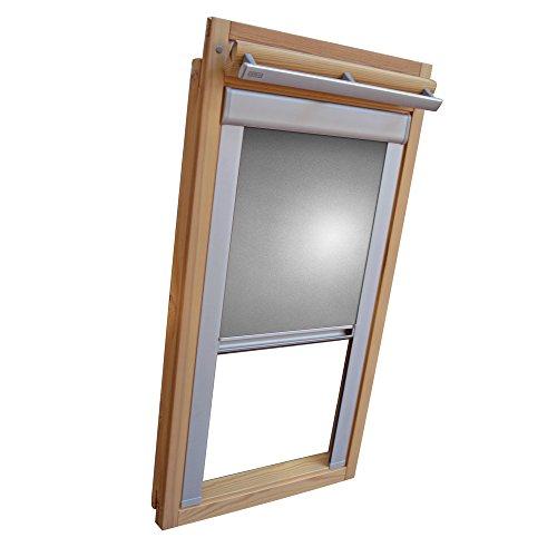 Easy-Shadow Dachfenster Verdunkelungsrollo Komfort Rollo Thermo für Typ Fakro FT/FTP/PK/FK/FE/FL/PTP Größe 08-94/118 (Glasmaß 78,0 x 101,3 cm) - in der Farbe Silber/grau