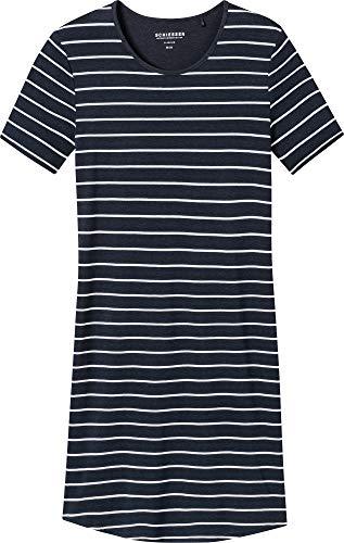 Schiesser Damen Negligee Sleepshirt 1/2 Arm, 90cm, Blau (Nachtblau 804), 42