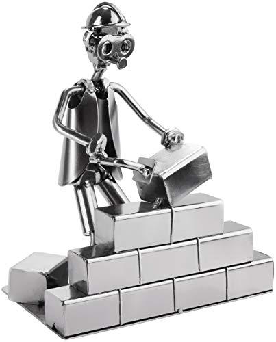 BRUBAKER Schraubenmännchen Maurer - Handarbeit Eisenfigur Metallmännchen - Metallfigur Geschenkidee für Maurer und Handwerker