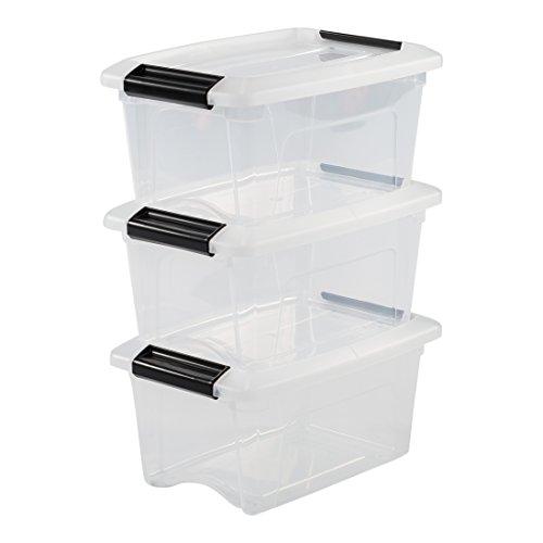 Iris Ohyama 3er-Set, Aufbewahrungsboxen, 5 L, mit Clips, stapelbar, Wohnzimmer, Schlafzimmer, Garage - New Top Box NTB-5 - Transparent