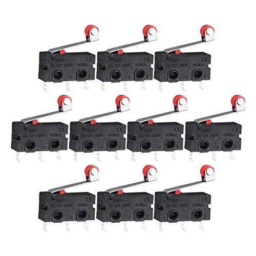 WINOMO Premium Mini Mikroschalter Roller Hebel Arm SPDT Endschalter Snap Aktion viel -10 Stück