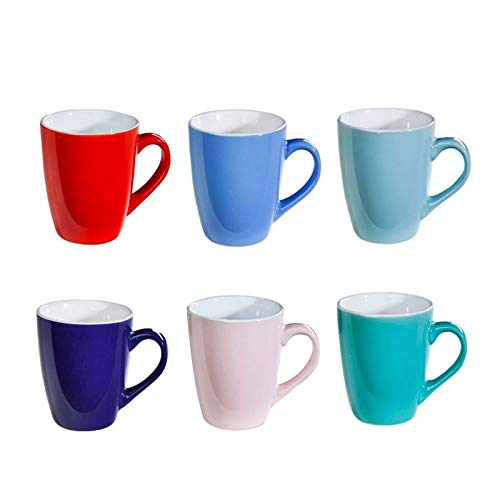 6er Set Bunte Kaffee-Becher AMELIE Mug aus Keramik im Set für a 200ml [Randvoll] in 6 schönen Pastell Farben. Genießen Sie Ihren Tee, Kaffe oder Cappuccino aus diesen modischen Kaffee-Tassen.