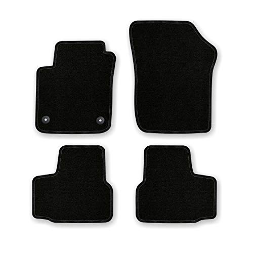 Bär-AfC VW04456 Basic Auto Fußmatten Nadelvlies Schwarz, Rand Kettelung Schwarz, Set 4-teilig, Passgenau für Modell Siehe Details