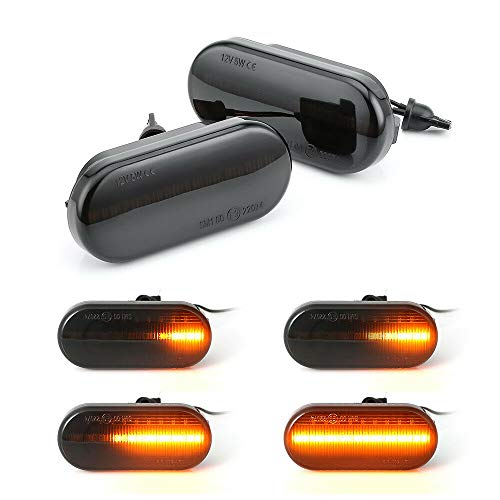 Lumiereholic LED Seitenblinker Dynamische Blinkleuchte Blinker Schwarz Smoke Passgenau für Bora Golf 3 4 Passat 3BG Polo SB6