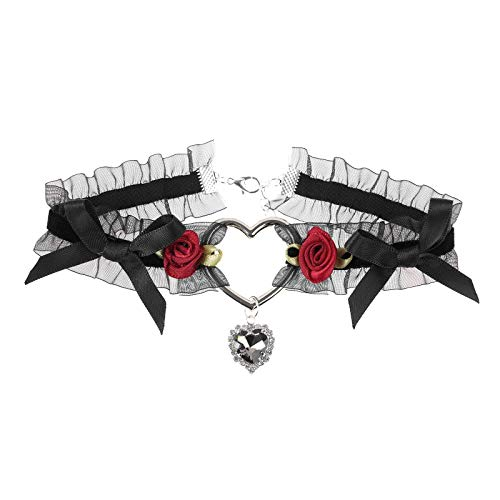 TiaoBug Damen Halsband mit Glöckchen verstellbare Leder Gürtel Schleife Choker Kragen Halskette Mädchen Modisch Schmuck Schwarz Herz One Size