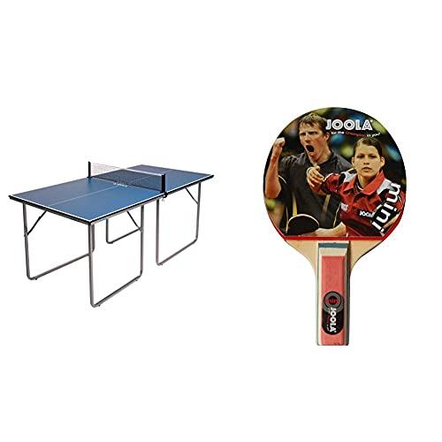 JOOLA Tischtennistisch Tischtennis Freizeittisch Inklusive Tischtennisnetz-22 KG, blau, one Size & Tischtennisschläger TT-Schläger Mini, Mehrfarbig, 9,5cm x 15,5 cm