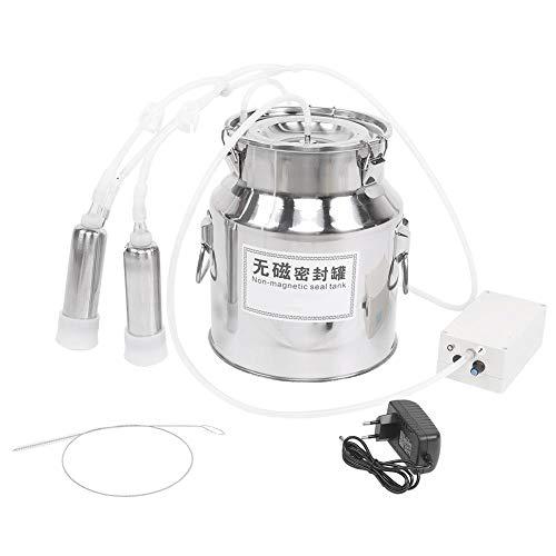 HEEPDD Melkmaschine, 14L Elektrische melkanlage Geschwindig keitsregulierbarer Melker mit 2 Zitzenbechern für Kuhrinder Ziegenschafe 100-240V(für Kuh EU Stecker 100-240V)