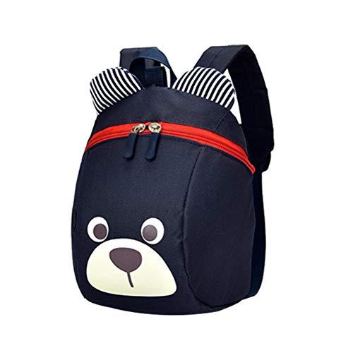 Kleinkind Rucksack Coole Bär Rucksack Mode Kinder Rucksack Anti-verlorene Wasserdichte Niedlichen Tier Cartoon Baby Tragen Schultasche Mit Leine (Dunkelblau)