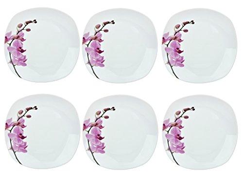 Van Well 6er Set Speiseteller Kyoto, 250 x 250 mm, Menü-Teller, großer Essteller, Servierteller, Porzellan-Geschirr, Blumen-Dekor Orchidee, rosa-rot, pink