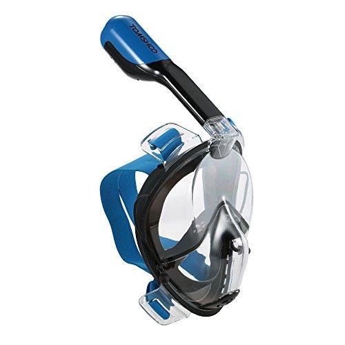 TOMSHOO Easybreath Tauchmaske Vollgesichtsmaske Schnorchelmaske Halterung,Anti Fog Schnorchel Maske Seaview 180 degree (Dunkelblau, S/M)