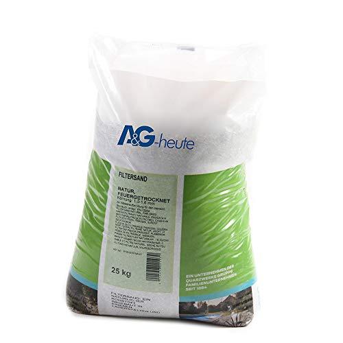 A&G-heute Min2C Filtersand 25kg Körnung 1.0-1.6 mm Poolfilter Teichfilter Quarzsand für Sandfilteranlagen Feuergetrocknet