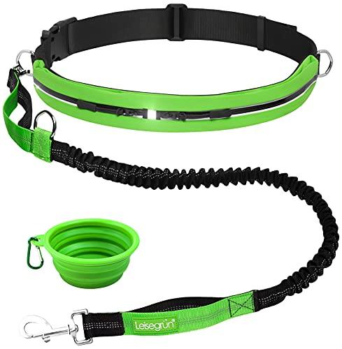 Leisegrün Joggingleine für Hunde bis 55 kg | Hundeleine zum Joggen mit Bauchgurt | Jogging Leine für große & mittelgroße Hunde | Länge 120 cm bis 170 cm, grün